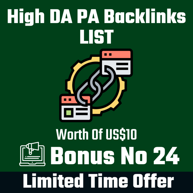 High DA PA Backlinks List