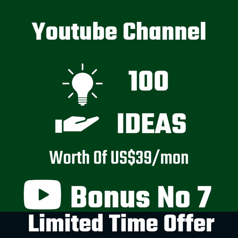 YouTube Channel 100 Ideas